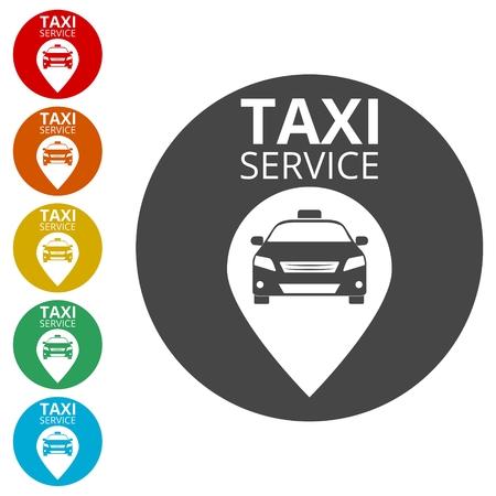Taxi, Public transport symbol icons set