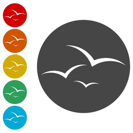 Seagull icons set - vector illustration Çizim