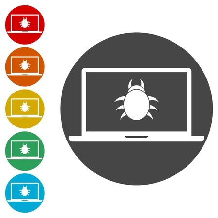 Conjunto de iconos de concepto de chantaje en línea - Ilustración Ilustración de vector