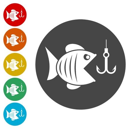 Fish and fish hook icons set - Illustration Çizim