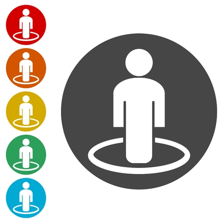 Street View icons set vector, person standing Vektoros illusztráció