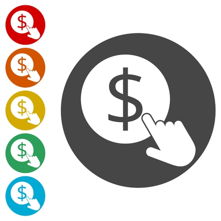 Hand Click icons set. Currency exchange sign. Dollar coin Illustration