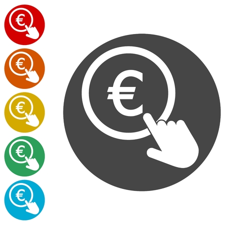 Hand Click icons set. Currency exchange sign. Euro coin