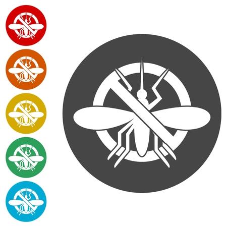 Los mosquitos paran el conjunto de iconos Ilustración de vector