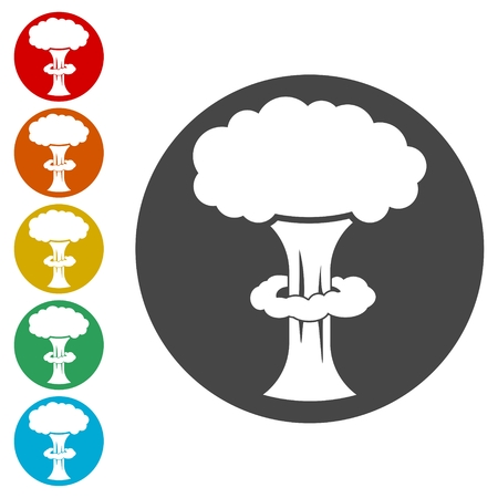 Nuclear explosion mushroom cloud icons set - Illustration