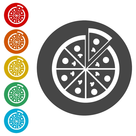 Pizza illustration icons set vector