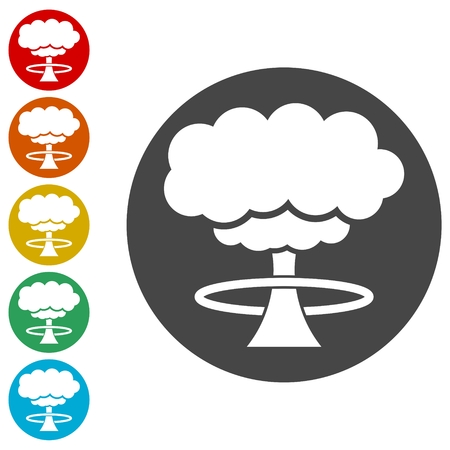 Nuclear explosion mushroom cloud icons set - Illustration