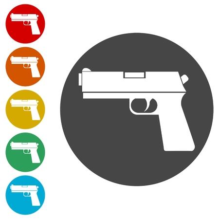 Gun icons set illustration