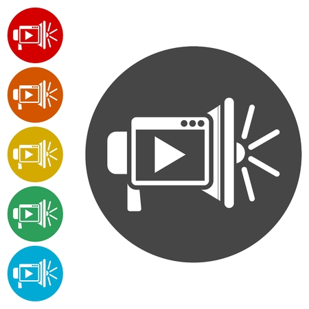 Video marketing icons set