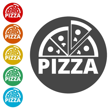 Pizza illustration icons set vector