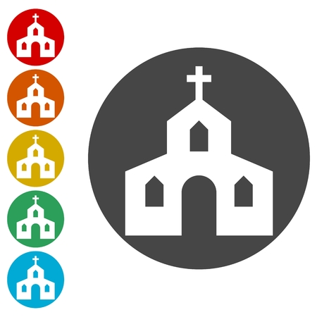 Church Icons set Flat Graphic Design - Illustration