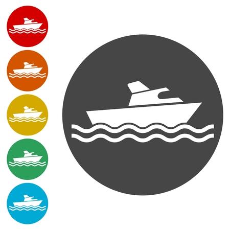 Conjunto de iconos de barco de pesca