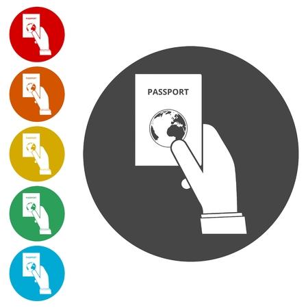 Hand holding passport. Passport icons set