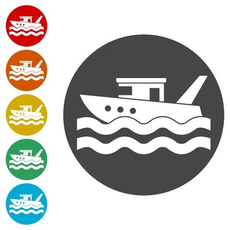 Fischerboot-Ikonen eingestellt Vektorgrafik
