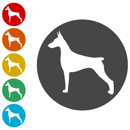 Doberman dog silhouette, side view, vector icons set Ilustração