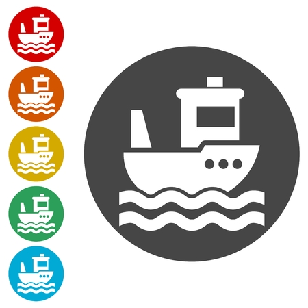 Fishing boat icons set
