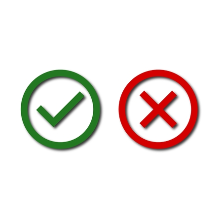 Checkmark and x or confirm, Check mark and x icon Illustration