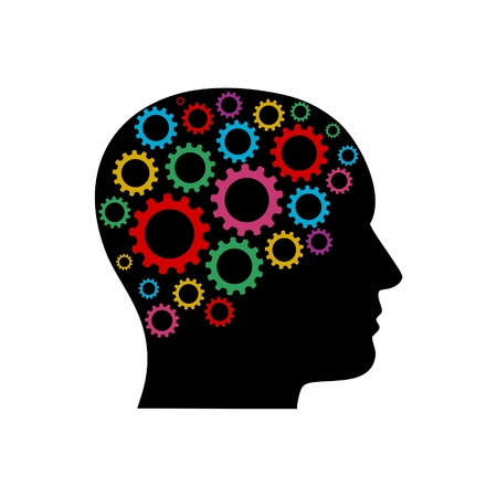 Head with gears concept Ilustração