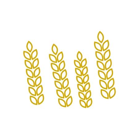 Wheat icon, yellow line icon Ilustração