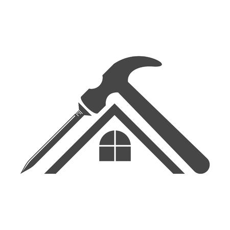 Home repair symbol, Hammer and nail icon