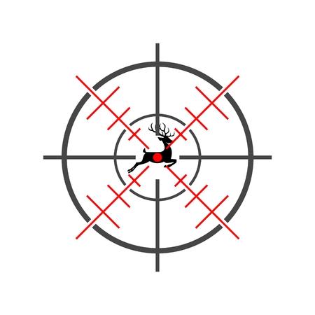 Hunting Season with Deer in gun sight Ilustração