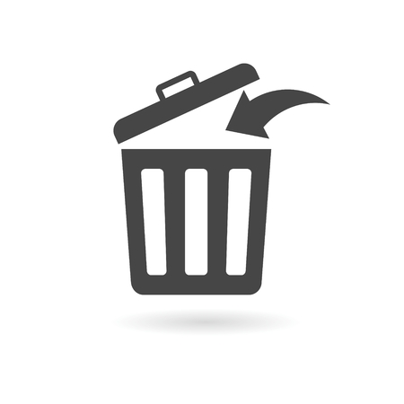 Trash bin or trash can symbol icon isolated on a white background