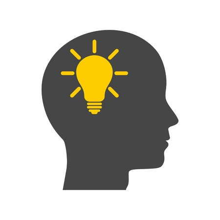 Human head with light bulb icon isolated on a white background