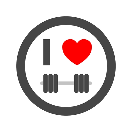 Gym dumbbell flat design, I love fitness