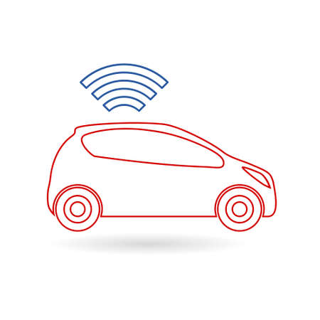The connected car. Smart car icon with wireless connectivity symbol