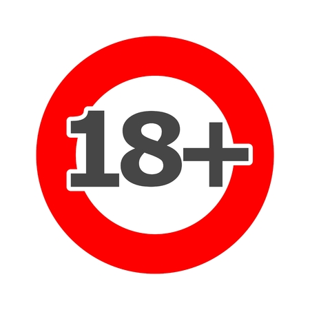 18+ age restriction sign, Vector eighteen icon