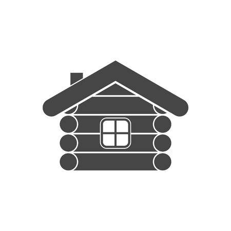 Wood log house icon vector illustration