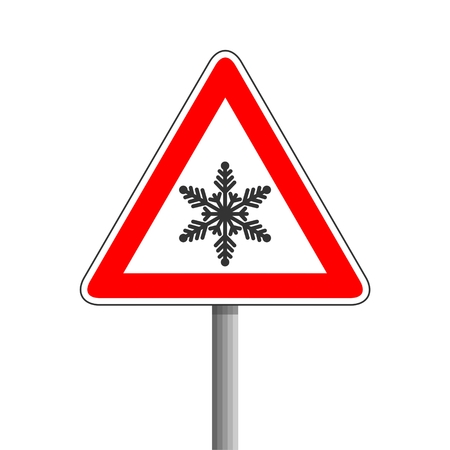 Traffic sign, Snow ahead traffic sign 版權商用圖片 - 110370147