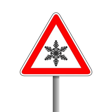 Verkeersbord, Sneeuw vooruit verkeersbord Vector Illustratie