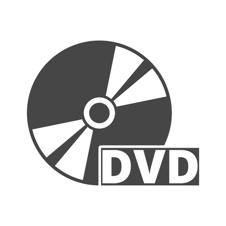 Icona di dvd nero isolato su bianco Vettoriali