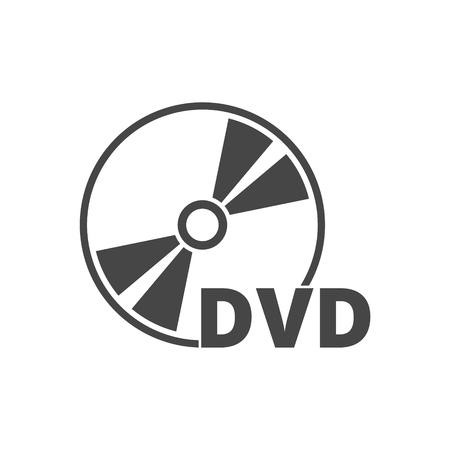 Black dvd icon isolated on white Vektorové ilustrace