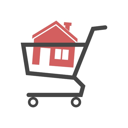House in shopping cart Stock Illustratie