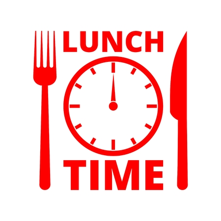 Time For Lunch, Flat Lunch Time icon Vectores