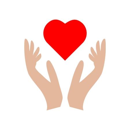 Corazón en icono de signo de manos, icono de donación