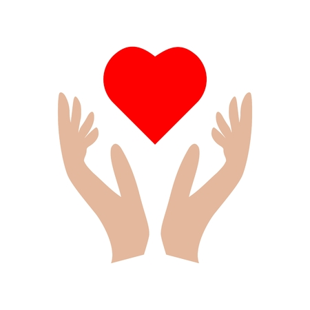 Heart in hands sign icon, Donation icon