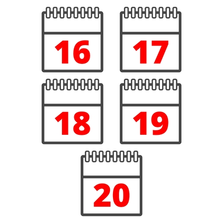 Calendar icons set - numbers icon