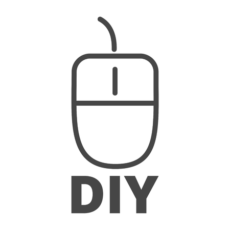 Computer mouse with the text DIY, Do it yourself icon 일러스트