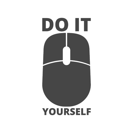 Computer mouse with the text DIY, Do it yourself icon Çizim