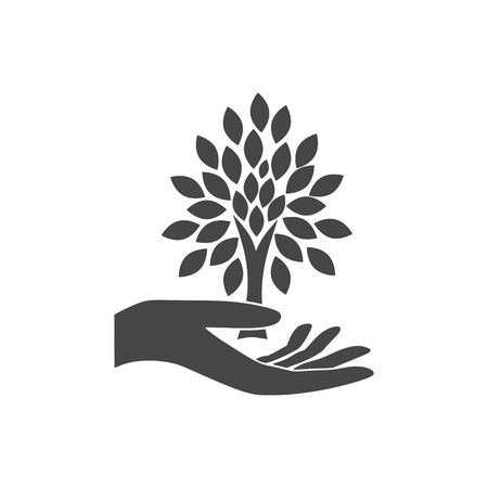 Hand with a tree symbol - Illustration Banque d'images - 110715936