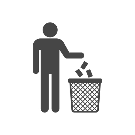 Human silhouette throwing garbage into a trash can 일러스트
