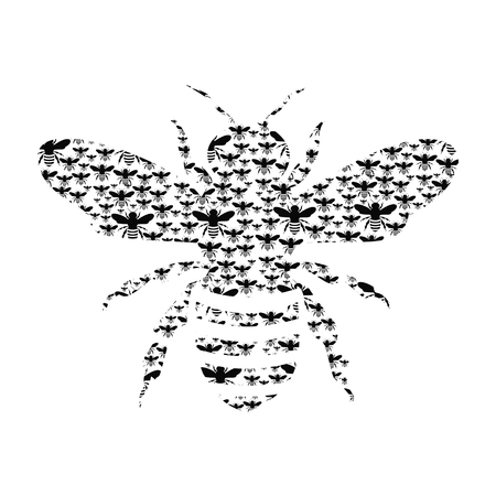 Black Bee Silhouette isolated on white background