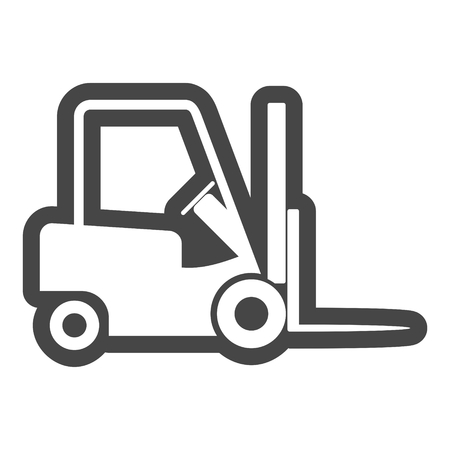 Line Forklift icon, Forklift truck side and front silhouette Illustration