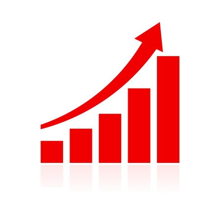 Growth chart vector icon, Graph icon, Red Graph sign 일러스트