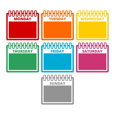 Days of the week, Calendar sheets with the days of the week 矢量图像