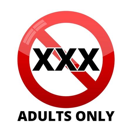 Signo de contenido solo para adultos, signo Vector XXX