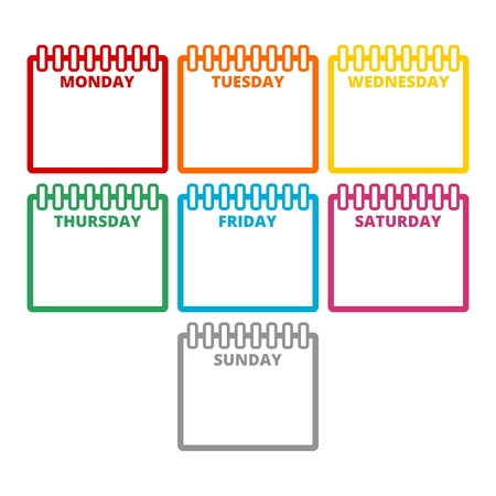 Days of the week, Calendar sheets with the days of the week Illusztráció